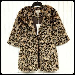 Vero Moda faux Cheetah fur 3/4 sleeve coat XS